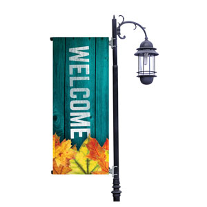 Blue Wood Bright Leaves Light Pole Banners