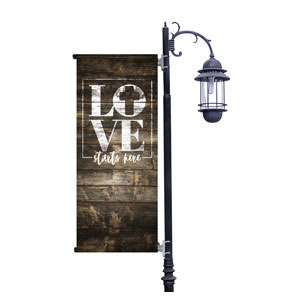 Love Starts Here Wood Light Pole Banners