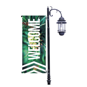 Chevron Welcome Winter Light Pole Banners