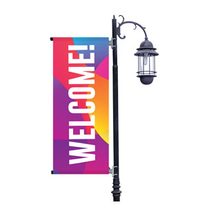 Curved Colors Welcome Light Pole Banners