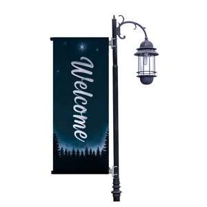 Christmas Forest Silhouette Light Pole Banners