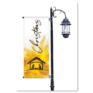 Gold Powder Creche Light Pole Banners