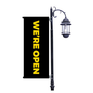 Black We're Open Light Pole Banners