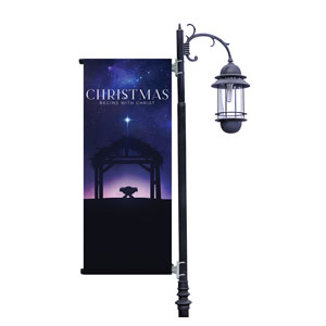Begins With Christ Manger Light Pole Banners