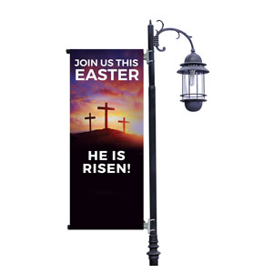 Risen Sunrise Crosses Light Pole Banners