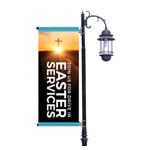 Drive In Easter Services Light Pole Banners