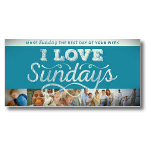I Love Sundays Blue Church Postcards
