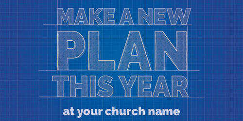 Church Postcards, New Years, Blue Print Plan 11 x 5.5 Oversized Postcard, 5.5 x 11