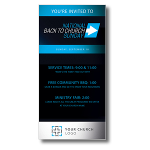 "Back to Church Sunday Arrow  11"" x 5.5"" Oversized Postcards"