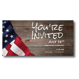 "American Flag Invited 11"" x 5.5"" Oversized Postcards"