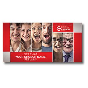 "Back to Church Happy Faces 11"" x 5.5"" Oversized Postcards"