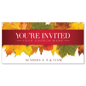 "Leaves Youre Invited 11"" x 5.5"" Oversized Postcards"