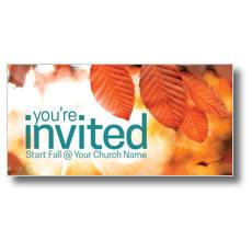 Orange Leaves Invited XLarge Postcard