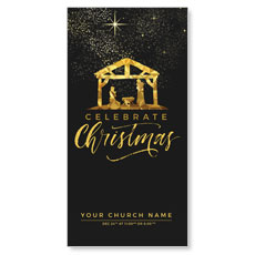 Black and Gold Nativity XLarge Postcard