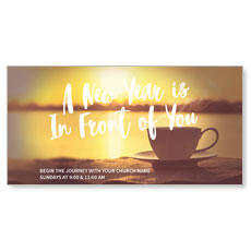 New Year Coffee Cup XLarge Postcard