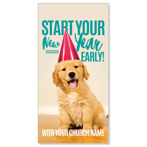 "New Year Puppy 11"" x 5.5"" Oversized Postcards"