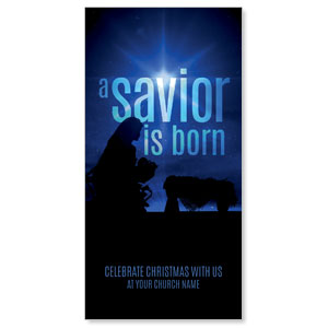 "Blue Savior Born 11"" x 5.5"" Oversized Postcards"