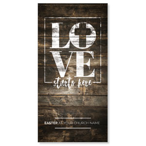 Love Starts Here Wood XLarge Postcards