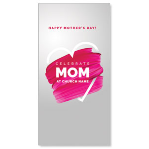 "Mom Pink Paint Strokes 11"" x 5.5"" Oversized Postcards"