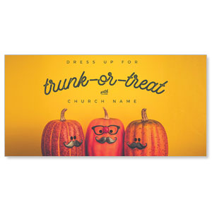 "Mustache Trunk or Treat 11"" x 5.5"" Oversized Postcards"