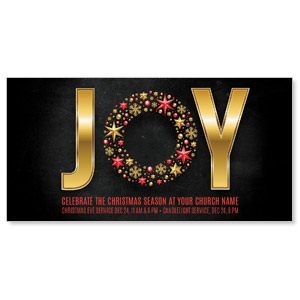 "Gold Joy Wreath 11"" x 5.5"" Oversized Postcards"