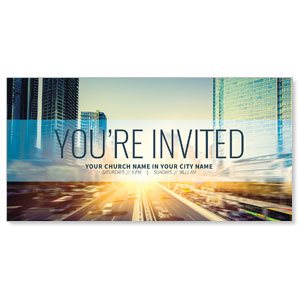 "City Skyline Invited 11"" x 5.5"" Oversized Postcards"