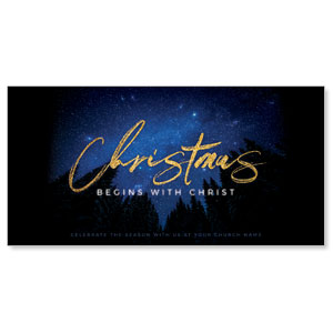"Night Sky Gold Script Christmas 11"" x 5.5"" Oversized Postcards"