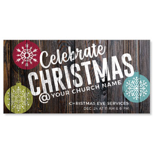 "Dark Wood Christmas Ornaments 11"" x 5.5"" Oversized Postcards"