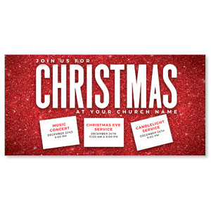"Red Glitter Christmas 11"" x 5.5"" Oversized Postcards"