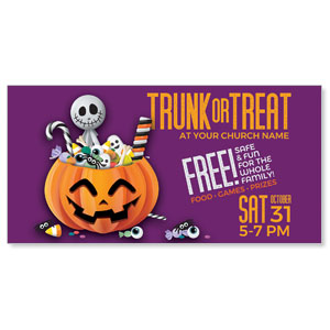"Purple Trunk or Treat 11"" x 5.5"" Oversized Postcards"