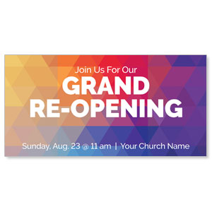 "Geometric Bold Grand Re-Opening 11"" x 5.5"" Oversized Postcards"