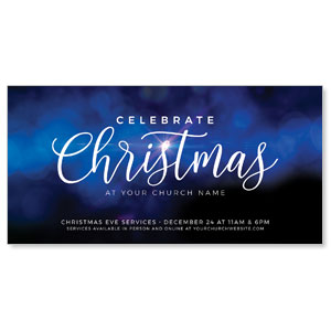 "Celebrate Christmas Blue Sparkle 11"" x 5.5"" Oversized Postcards"