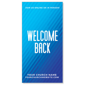 "Retro Geo Blue Welcome Back 11"" x 5.5"" Oversized Postcards"