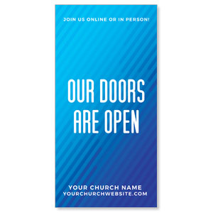 "Retro Geo Blue Doors Are Open 11"" x 5.5"" Oversized Postcards"