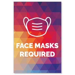 Geometric Bold Face Masks Required Posters