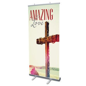 "Amazing Love Cross 4' x 6'7"" Vinyl Banner"