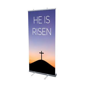 "He Is Risen Sunrise 4' x 6'7"" Vinyl Banner"