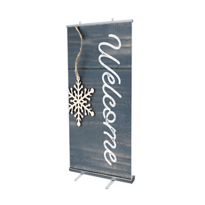 "Wood Ornaments Welcome 4' x 6'7"" Vinyl Banner"