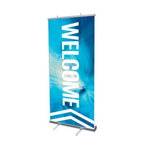 "Chevron Welcome Blue 4' x 6'7"" Vinyl Banner"