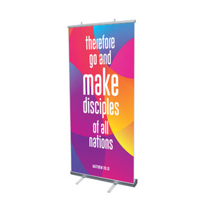"Curved Colors Scripture 4' x 6'7"" Vinyl Banner"