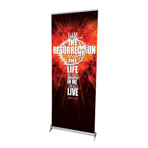 "I Am the Resurrection 2'7"" x 6'7""  Vinyl Banner"