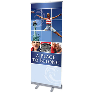 "Belong Red White Blue 2'7"" x 6'7""  Vinyl Banner"