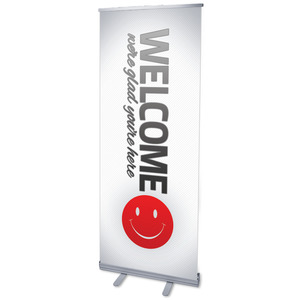 "Pin Stripe Welcome 2'7"" x 6'7""  Vinyl Banner"