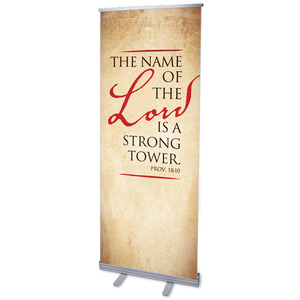 Red Script Prov 18:10 Banners