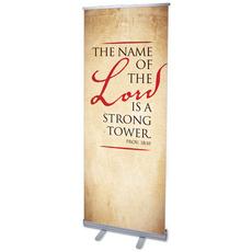 Red Script Prov 18:10 Banner