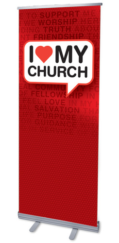 Banners, New Years, I Love My Church, 2'7 x 6'7