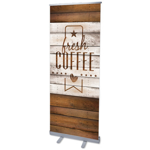 "Barn Wood Coffee 2'7"" x 6'7""  Vinyl Banner"
