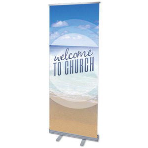 "Season Welcome Ocean 2'7"" x 6'7""  Vinyl Banner"