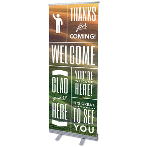 "Phrases Welcome 2'7"" x 6'7""  Vinyl Banner"