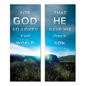 "For God So Loved Pair 2'7"" x 6'7""  Vinyl Banner"